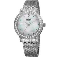 Burgi Women's Sparkling Czech Crystal Silver-Tone Brick Road Bracelet Watch with FREE Bangle