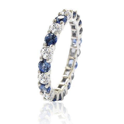 Suzy Levian Sterling Silver Blue & White Sapphire & Diamond Accent Eternity Ring - Eternity Band