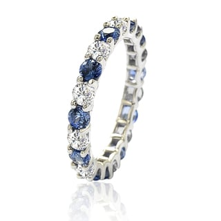 Suzy Levian Sterling Silver Blue & White Sapphire & Diamond Accent Eternity  Ring