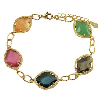 Luxiro Gold Finish Sterling Silver Multi-color Sliced Glass Bracelet|https://ak1.ostkcdn.com/images/products/14404776/P20974237.jpg?_ostk_perf_=percv&impolicy=medium