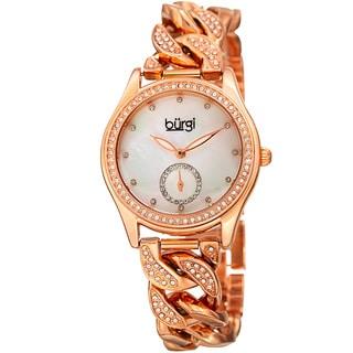 Burgi Women's Swarovski Crystal Rose-Tone Link Chain Bracelet Watch