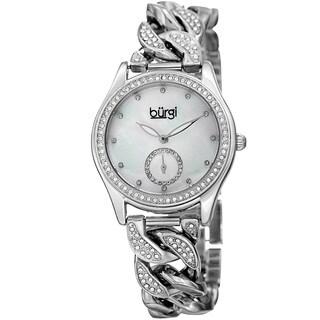 Burgi Women's Swarovski Crystal Silver-Tone Link Chain Bracelet Watch with FREE Bangle
