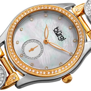 Burgi Women's Swarovski Crystal Two-Tone Link Chain Bracelet Watch