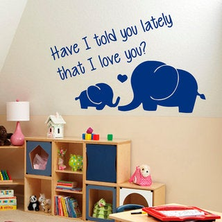 Elephants Wall Decals Family Quotes I Love You Baby Wall Home Decor Vinyl Art Decor Sticker Decal size 22x30 Color Black