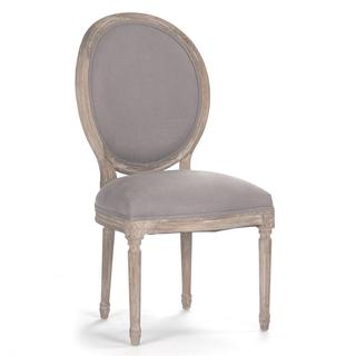Louis French Antique Wood Tufted Oval Dining Chair