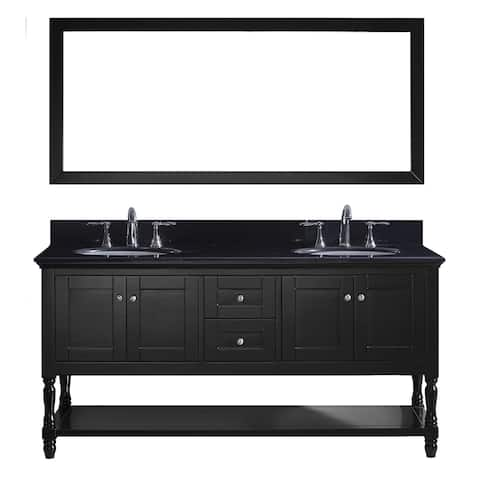 Virtu USA Julianna 72-inch Double Bathroom Vanity Set with Black Granite Top with Round Basins and Faucet Option