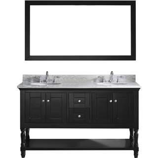 Virtu USA Julianna 60-inch Double Bathroom Vanity Set with White Marble Top with Round Basins and Faucet Option