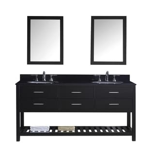 Virtu USA Caroline Estate 72-inch Double Bathroom Vanity Set with Black Granite Top with Round Basins and Faucet Option