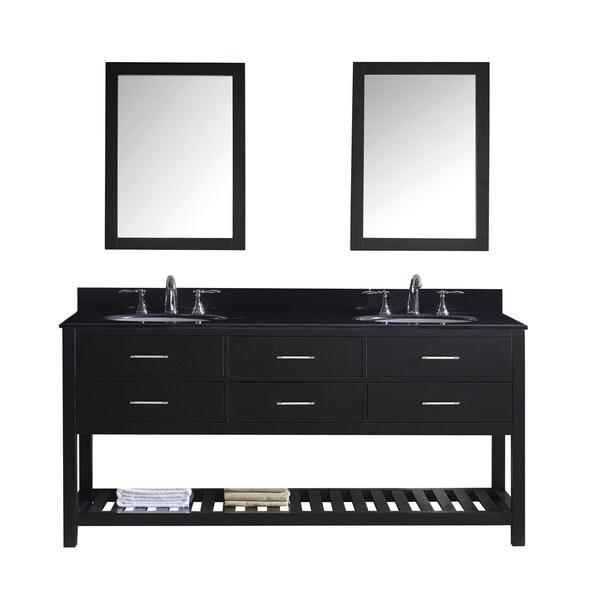 Virtu USA Caroline Estate 72-inch Double Bathroom Vanity Set with Black Granite Top with Round Basins and Faucet Option