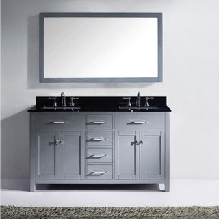 Virtu USA Caroline 60-inch Square Black Granite Double Bathroom Vanity Set with Faucet Options