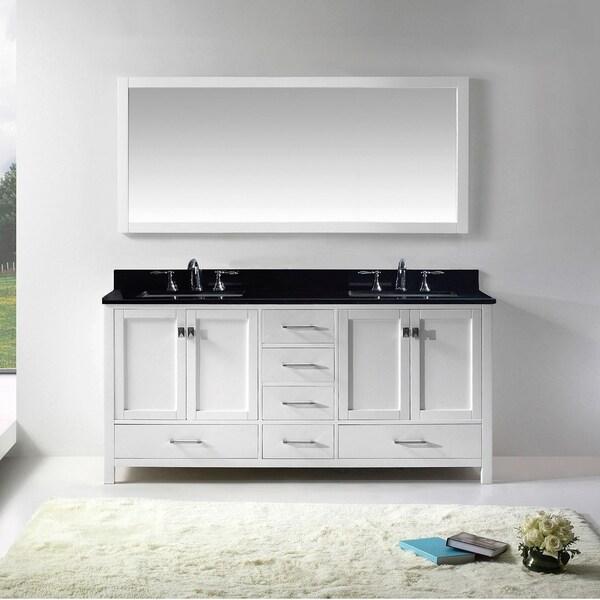 Caroline Avenue 60-inch Black Granite Double Vanity Faucet Options