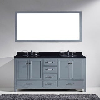 Caroline Avenue 60-inch Double Vanity Black Granite Faucet Options