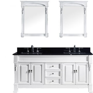 Virtu USA Huntshire 72-inch Double Bathroom Vanity Set with Black Granite Top and Square Basins and Mirror
