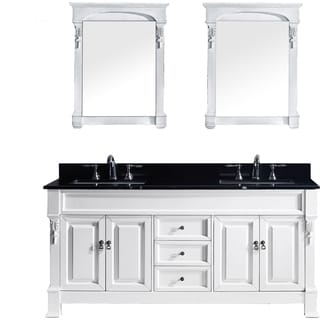 Virtu USA Huntshire 72 Inch Double Bathroom Vanity Set With Black Granite  Top And Square