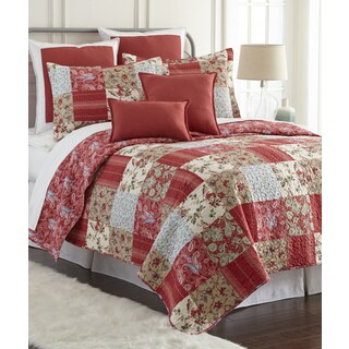 Sherry Kline Manhattan Red 3-piece Cotton Reversible Quilt Set