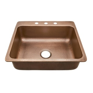 Sinkology Rosa Drop In Copper Sink 25-inch 3-Hole Copper Kitchen Sink in Antique Copper