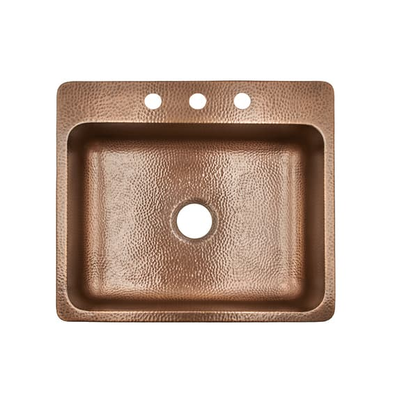 Sinkology Rosa Drop In 25 3 Hole Copper Kitchen Sink Antique