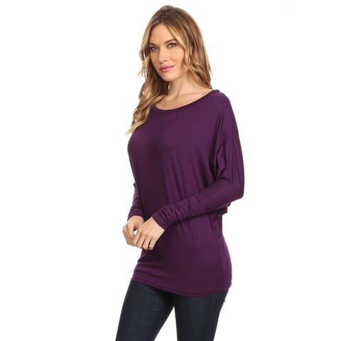Women's Rayon/Spandex Solid Dolman Sleeve Tunic