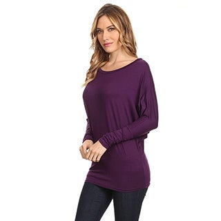 Women's Solid Dolman Sleeve Tunic