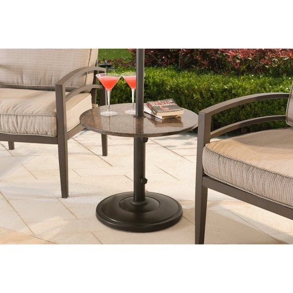 Sunjoy Monty Steel And Stone Side Table With Umbrella Base