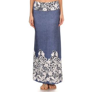 Women's Floral Denim Maxi Skirt