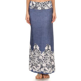 Women's Floral Denim Maxi Skirt|https://ak1.ostkcdn.com/images/products/14405453/P20974791.jpg?impolicy=medium