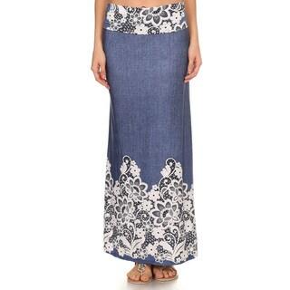 Women's Floral Denim Maxi Skirt