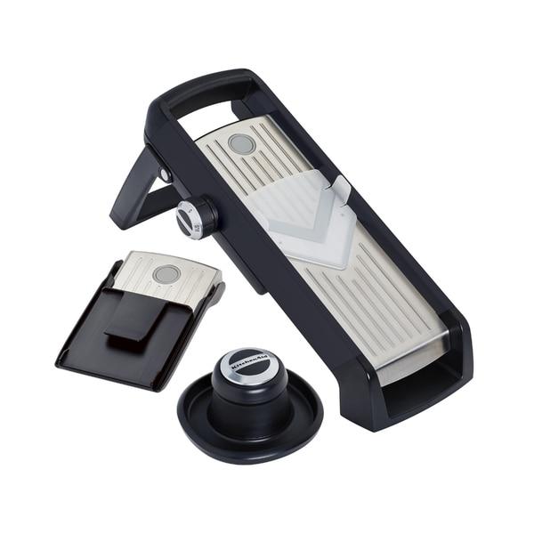 Kitchenaid Gourmet Black Plastic and Stainless Steel Mandoline Slicer. Opens flyout.