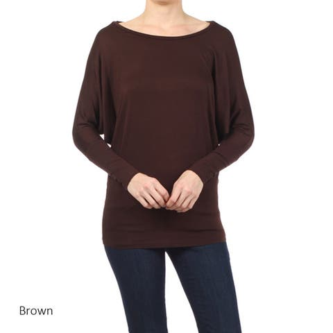 Women's Rayon and Spandex Solid Dolman Sleeve Tunic