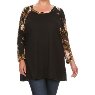 Women's Plus Size Multicolored Floral Pattern Sleeve Tunic
