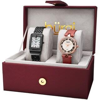 Burgi Women's Diamond Dimpled Buckle Black Bracelet & Rose-Tone Strap Watch Set