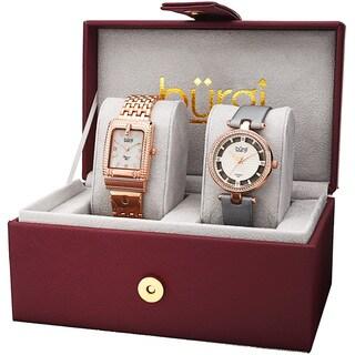 Burgi Women's Diamond Dimpled Buckle Rose-Tone Bracelet & Grey Strap Watch Set