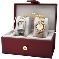 Burgi Women's Diamond Dimpled Buckle Two-Tone Bracelet & Gold-Tone Strap Watch Set with FREE Bangle