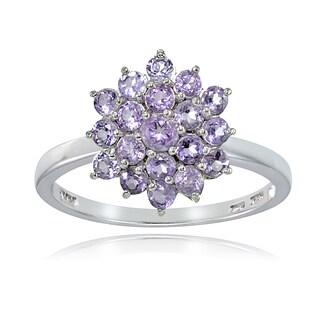 Glitzy Rocks Sterling Silver Genuine Amethyst Flower Ring