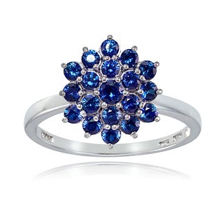 Glitzy Rocks Sterling Silver Created Blue Sapphire Flower Ring