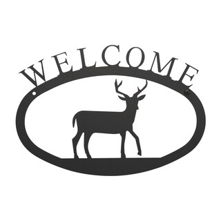 WEL-3-S-VWR Black Welcome Plaque with Deer Silhouette