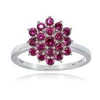 Glitzy Rocks Sterling Silver Genuine Created Ruby Flower Ring