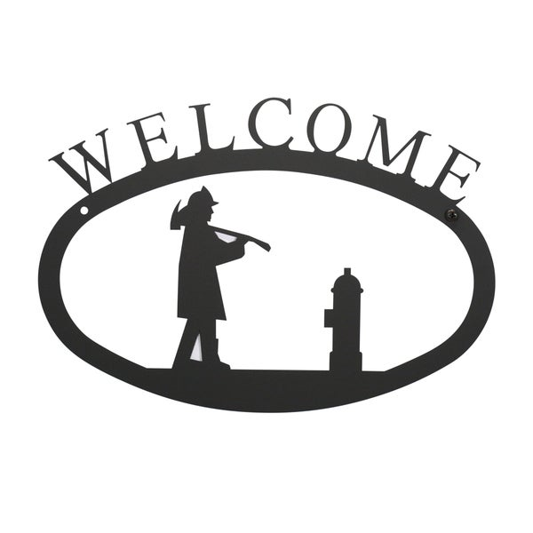 WEL-15-S-VWR Black Welcome Plaque with Firefighter