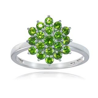 Glitzy Rocks Sterling Silver Genuine Peridot Flower Ring