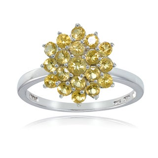 Glitzy Rocks Sterling Silver Genuine Citrine Flower Ring