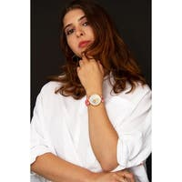 Burgi Women's Sparkling Diamond Crystal Gold-Tone/ Pink Leather Strap Watch