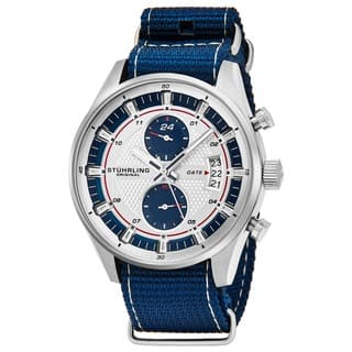 Stuhrling Original Men's Quartz Dual Time Monaco Canvas strap Watch|https://ak1.ostkcdn.com/images/products/14405871/P20975168.jpg?impolicy=medium