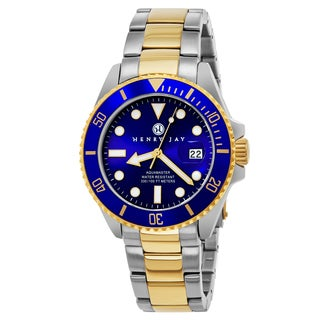 Henry Jay Mens 23k Gold Plated Two-tone Stainless Steel Specialty Aquamaster Professional Dive Watch