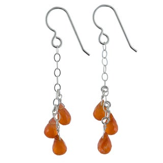 Ashanti Vibrant Orange Carnelien Gemstones Sterling Silver Handmade Chandelier Earrings