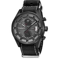 Stuhrling Original Men's Quartz Dual Time Monaco Canvas Strap Watch - Black