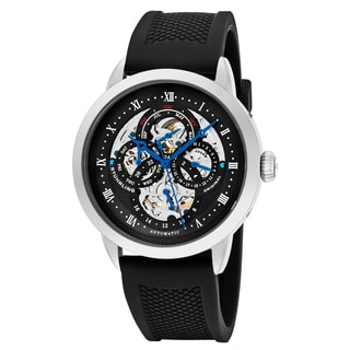 Stuhrling Original Men's Automatic Skeleton Legacy Black Rubber Strap Watch