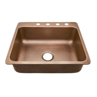 Sinkology Rosa Drop In Copper Sink 25-inch 4-Hole Copper Kitchen Sink in Antique Copper