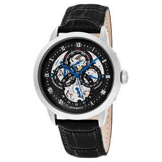 Stuhrling Original Men's Automatic Multifunction Legacy Black Leather Strap Wacth