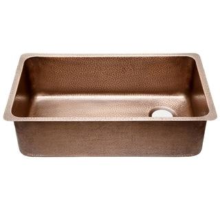 Sinkology David Chef Series Undermount Copper Sink 31-1/4 in. Ergonomic Copper Kitchen Sink in Antique Copper