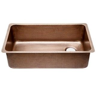 "Sinkology David Chef Series Undermount 31.25"" Ergonomic Copper Kitchen Sink in Antique Copper"